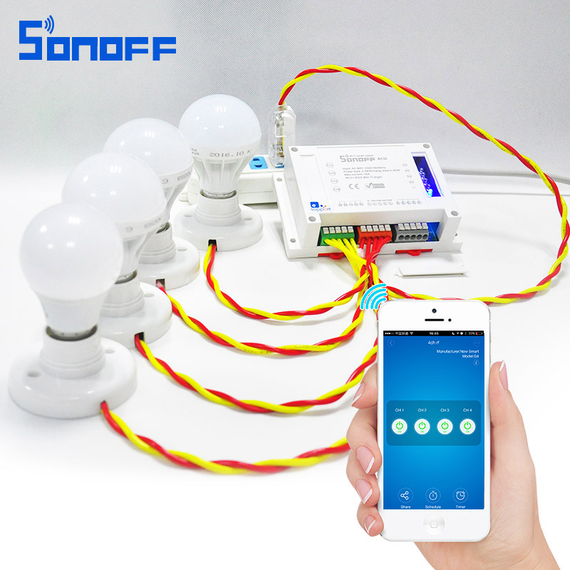 Sonoff 4CH Smart Remote Control Universal Wireless Switch Module on/off Timer Switch via app 10A/2200W forsmart home Automation sonoff 4ch wifi switch smart home automation module on off wireless timer diy switch 10a 2200w works with alexa google home
