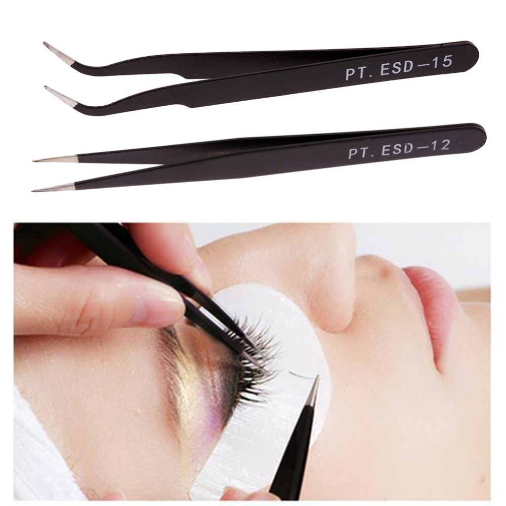 New Sale 2Pc Anti-static Curved Straight Tip Forceps Precision Soldering Tweezers Set Electronic ESD Tweezers Tool Drop Shipping