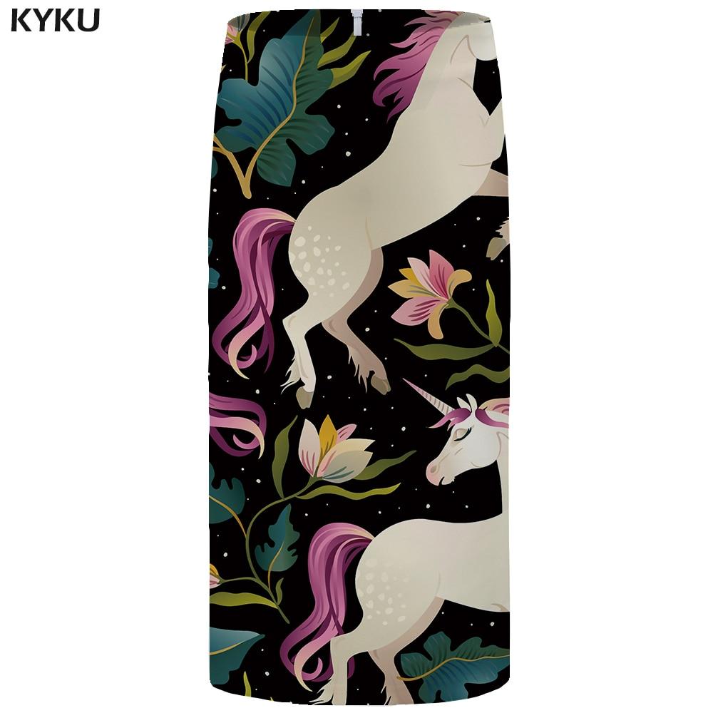 KYKU Unicorn Skirts Women Flower Pencil Skirt Black 3d Print Sexy High Waist OL Womens Skirt Casual Party Ladies Skirts 2018