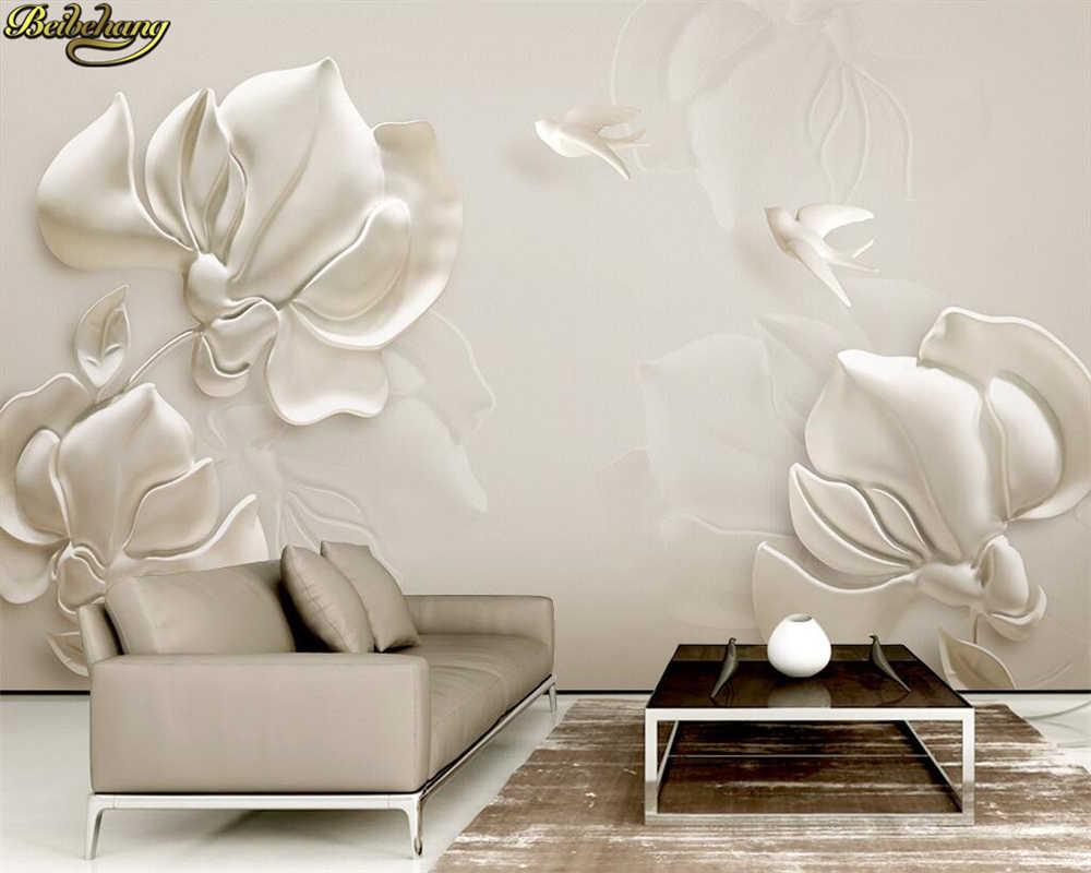 Beibehang пользовательские фотообоями 3D гипса тиснением Магнолия белая птица ТВ Задний план стены документы домашнего декора