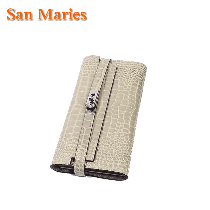San Maries Luxury Brand Alligator Genuine Leather Women Wallets And Purses Coin Purses Long Wallet Female Lady Phone Clutch 2015 fashion cowhide real leather wallet brand casual long quality genuine leather women wallets purses lady clutch bags