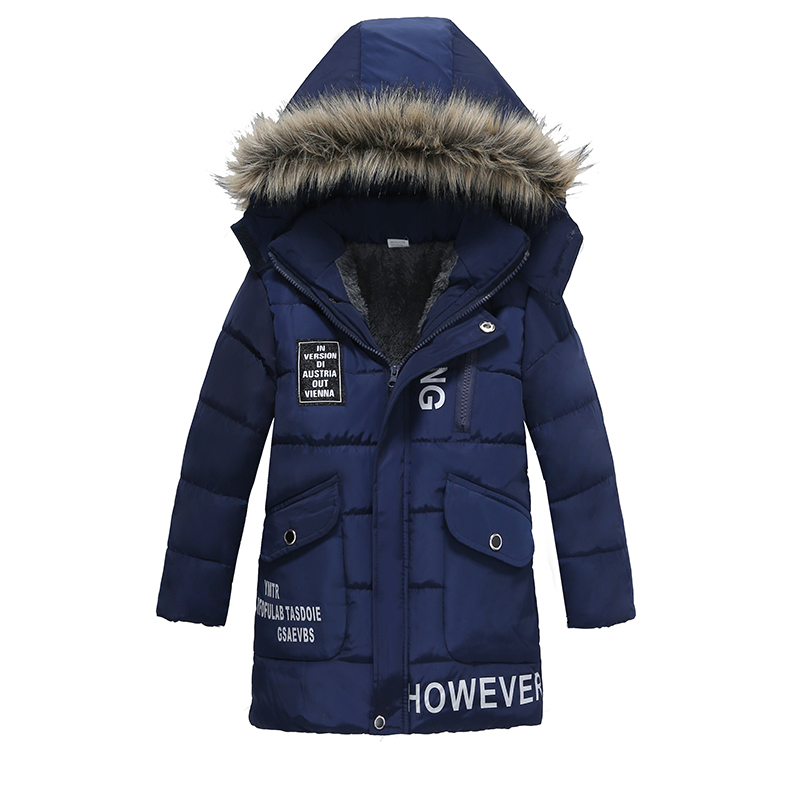 Warm Thickening Winter Fur Collar Child Coat Children Outerwear Windproof Baby Boys Girls Letter Jackets For 3-6 Years Old