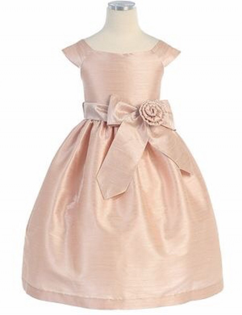 Champagne Cheap   Girls     Dresses   Scoop A-Line Floor Length Ribbon Sash Sequins Taffeta   Flower     Girls     Dresses   Little   Girl   Party Gown