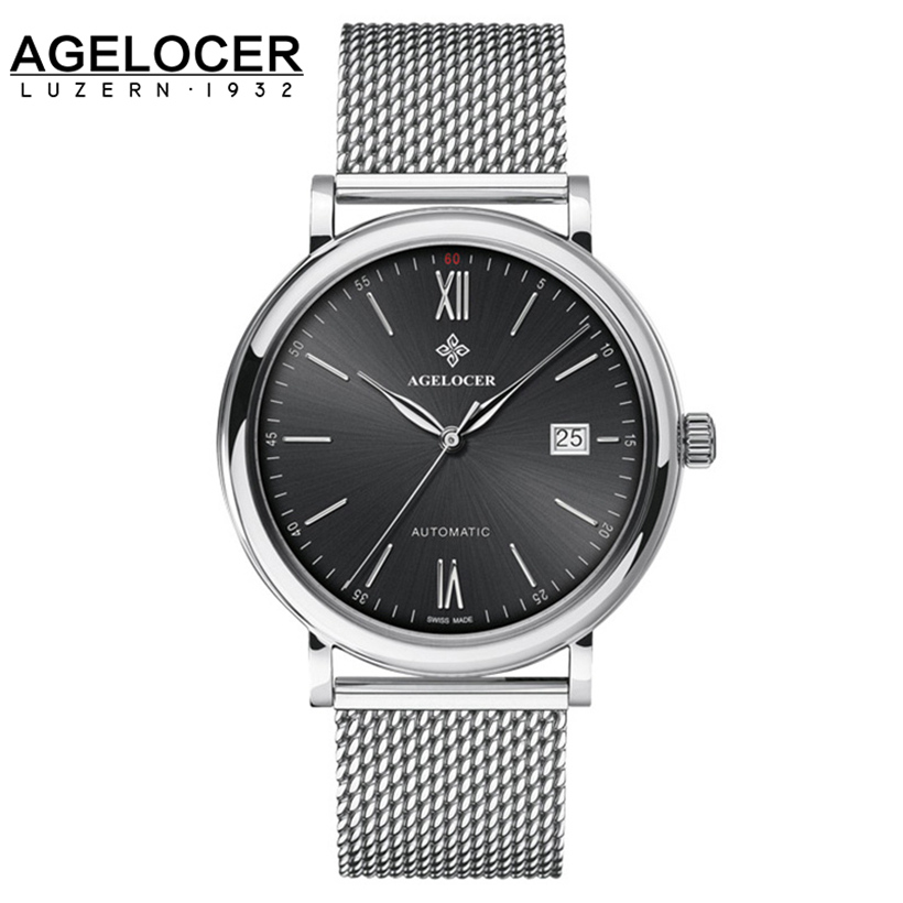 Agelocer Top Luxury Mechanical Watch Men Brand Men's Watches Ultra Thin Stainless Steel Mesh Band Wristwatch Mens Watches mens branded luxury fashion watch men automatic ultra thin gold full steel mesh watches men dress mechanical watch orologio uomo