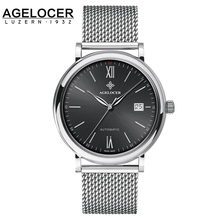 Agelocer Top Luxury Mechanical Watch Men Brand Men's Watches Ultra Thin Stainless Steel Mesh Band Wristwatch Mens Watches