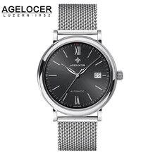 Agelocer reloj 18 K Oro Marca Nuevo Mens Reloj Suizo Suiza Movimiento Con Dial Grande de Los Hombres Reloj de Pulsera desde 1932