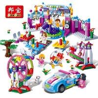 Banbao بنات الاطفال التعليمية لعب الاطفال هدايا مدينة الأصدقاء ملصقات ملعب متوافق مع legoe