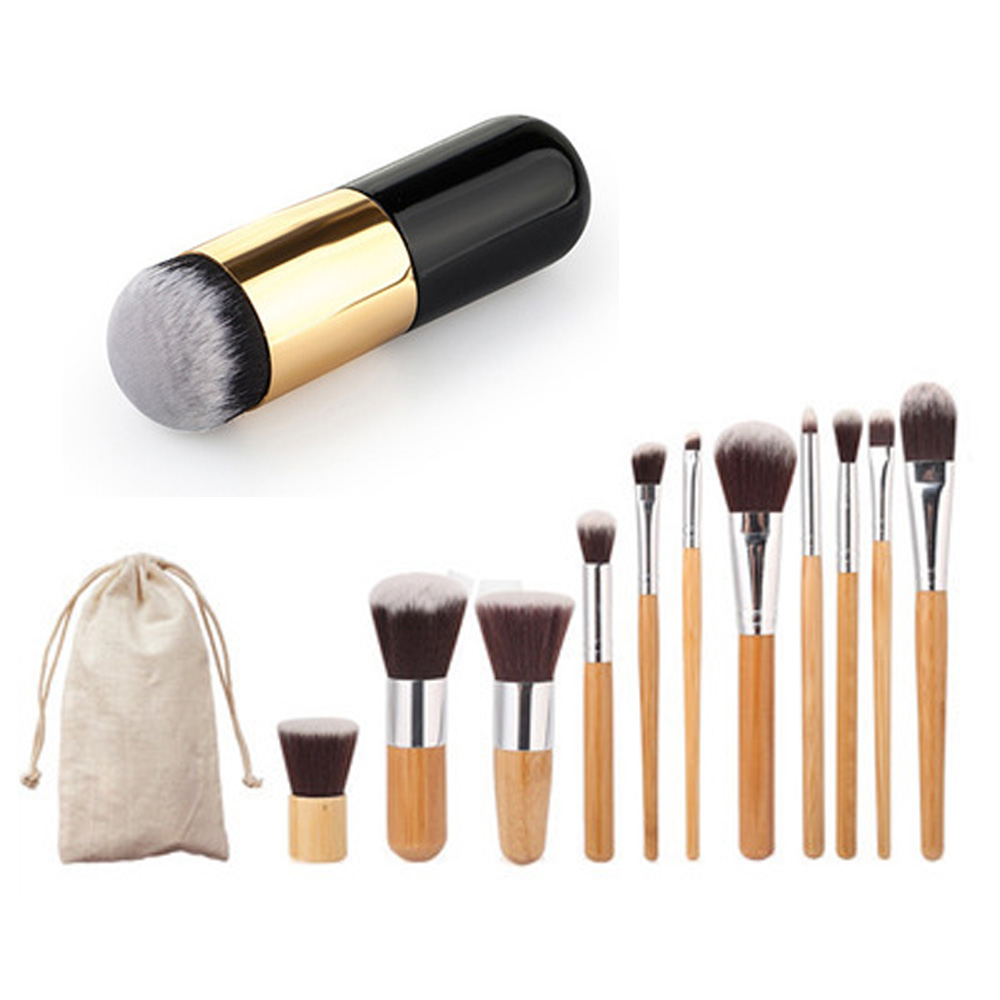 12pcs Natural Bamboo Professional Makeup Brushes Set Foundation Blending Brush Tool Cosmetic Kits Makeup Set Brusher make up set professional cosmetic makeup brushes packaging makeup brush set gic mb002 12pcs set dark gold color free shipping