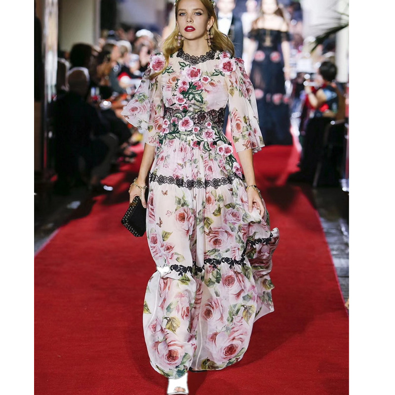 Luxury Designer Brand Chiffon Dress for Women 3D Flowers Lace Embroidery Rose Print Long Dress Pink