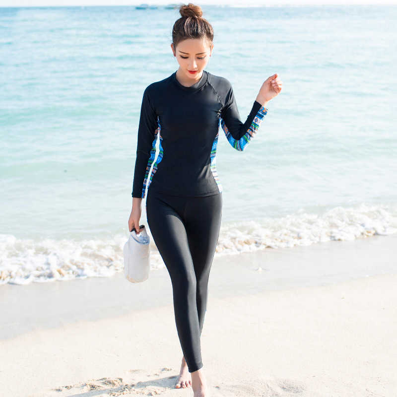3ce15054927ea Long Sleeve Swimsuit Surfing Wear Plus Size Swimwear Women Rash Guard Sport  Tankini Set 2019 New