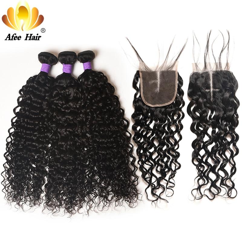 Aliafee волос бразильский волна воды Связки с синтетическое закрытие remy ткань предложения натуральные волосы 100% химическое наращивание