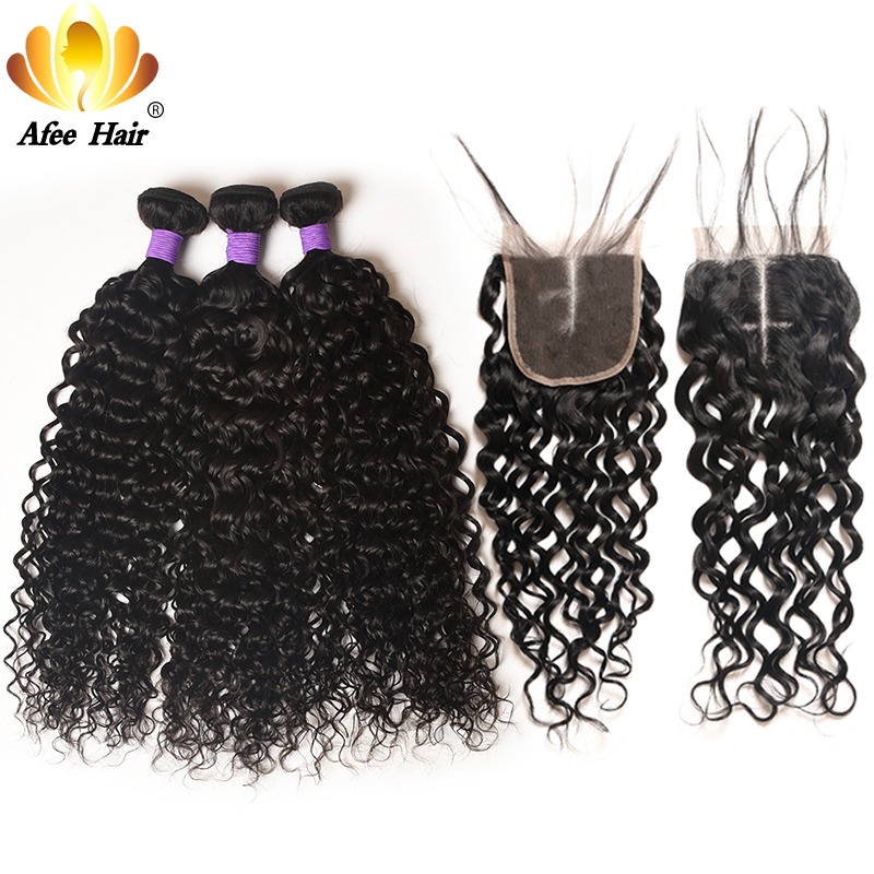 Aliafee Hair Brazilian Water Wave Bundles with Closure Remy Brazilian Hair Weave Bundles Deals 100% Human Hair Extension
