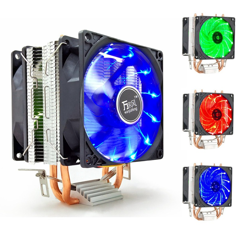 LED 2 Heat Pipe Quiet CPU Cooler Heatsink Dual Fan For LGA 1155 775 1156 AMD 12V Dual CPU Cooler Quiet Powerful Fan For AMD for acer aspire v3 772g notebook pc heatsink fan fit for gtx850 and gtx760m gpu 100% tested