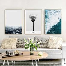 HAOCHU Nordic Landscape Canvas Art Print Painting Poster Seascape Flower Letter Home Decor Living Room Study Mural Wall Artwork