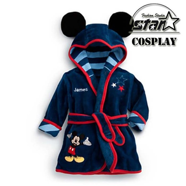 2016 Bebé Pijamas Robe Bebé Sleeprobe Franela Albornoces Homewear Del Bebé Niños Encantadores Lindos de Mickey Minnie ropa de Dormir