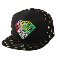 Quality 2016 New Trendy Women Men Fashion Diamond Style Baseball Cap Gold Star Navy Black Beauty HipHop Hat Summer Snapback Caps