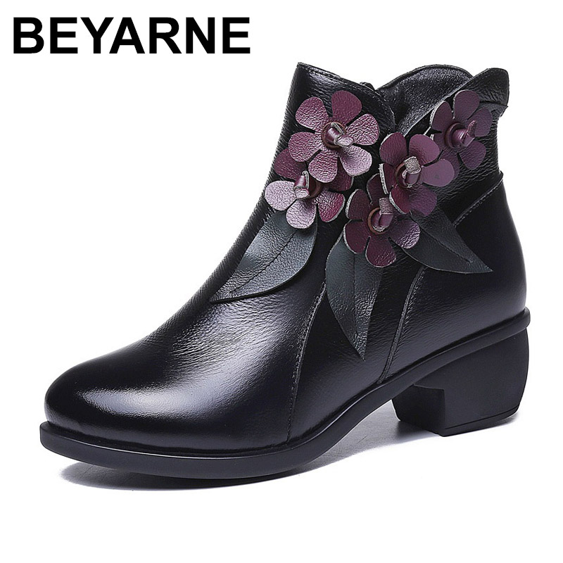 BEYARNE Autumn Winter Women Boots Vintage Flowers Round Toe Genuine Leather Thick Heel Warm Ankle Boots