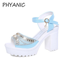 PHYANIC 2018 Summer New Women Open Toe Ankle Strap Gold Sandals Crystal Transparent Clear Block Thick High Heel Shoes PHY3109