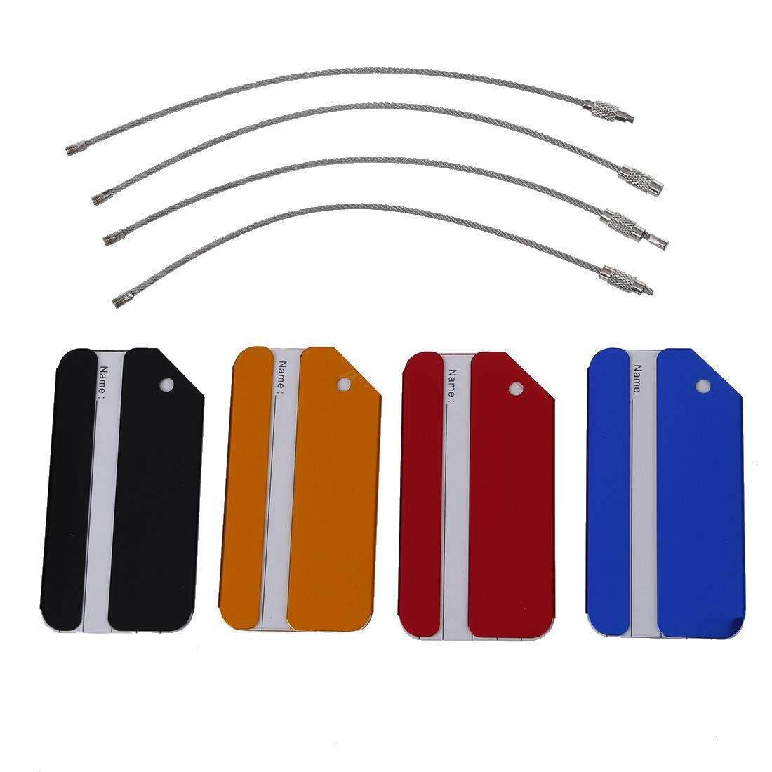 TFTP 4pcs Aluminium Metal Travel Luggage Baggage Suitcase Address Tags Label Holder
