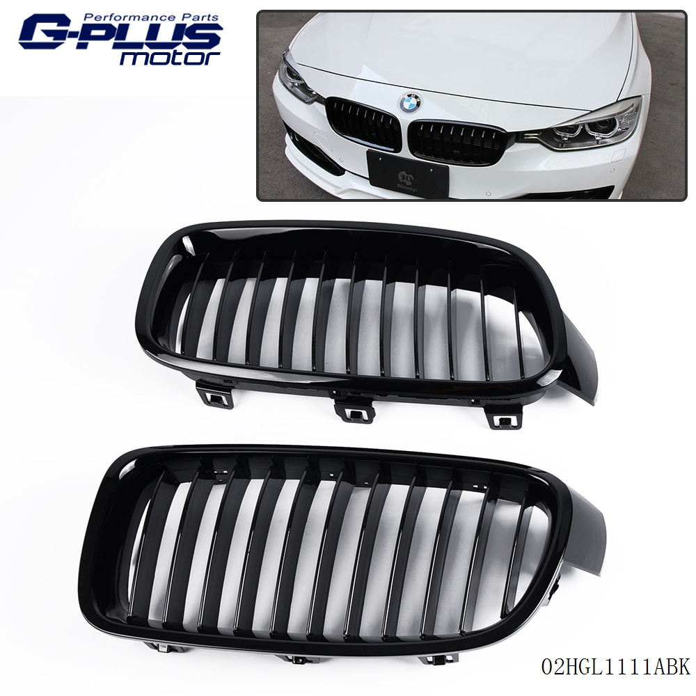 L&R Front Kidney Grille Gloss Black For 12-15 BMW F30/F35/320li/325i/328i/335i