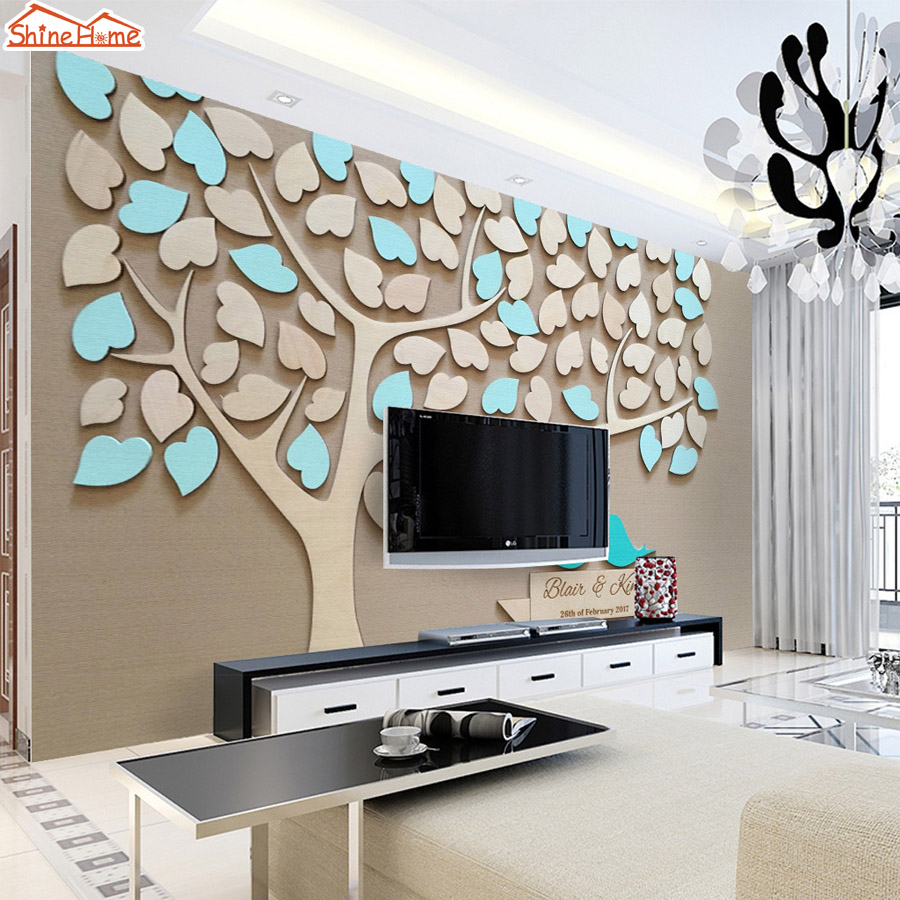 ShineHome-Black White Romantic Tree Bird in Love Natural Brick 3d Room Wallpaper Roll Murals for Livingroom Wall Paper Rolls