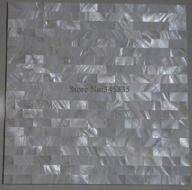 white groutless brick shell mosaic tile mother of pearl decoration ...