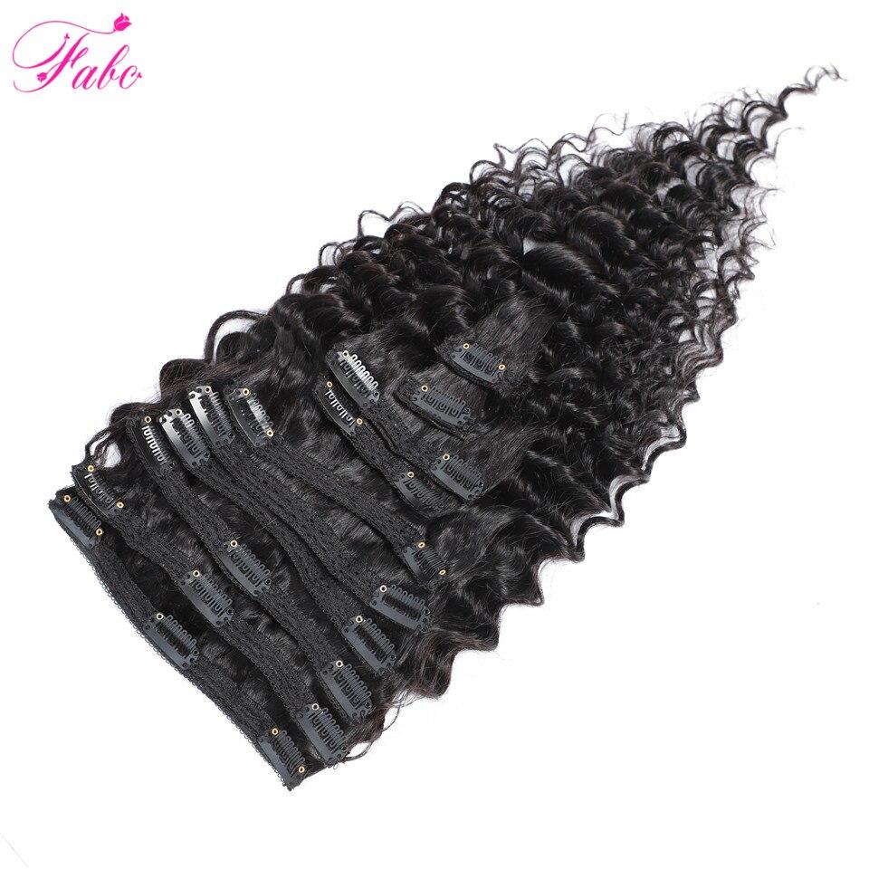 Fabc Hair Peruvian Hair Deep Wave Clip In Extensions Natural Black Non Remy Human Hair Clip Ins 10Pcs/Set 2 Sets Available