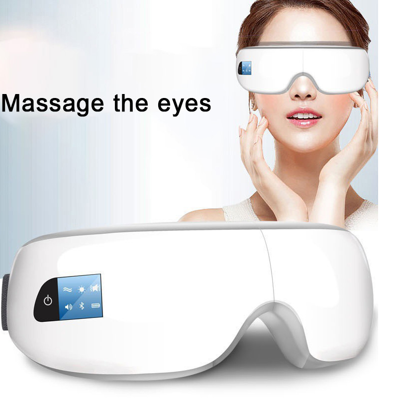 Wireless Digital Eye Massager with Heat Compression Air Pressure Music & Eye Care Stress Relief goggles massage eyes free shipping new air pressure eye massager with mp3 6 functions dispel eye bags eye magnetic far infrared heating eye care