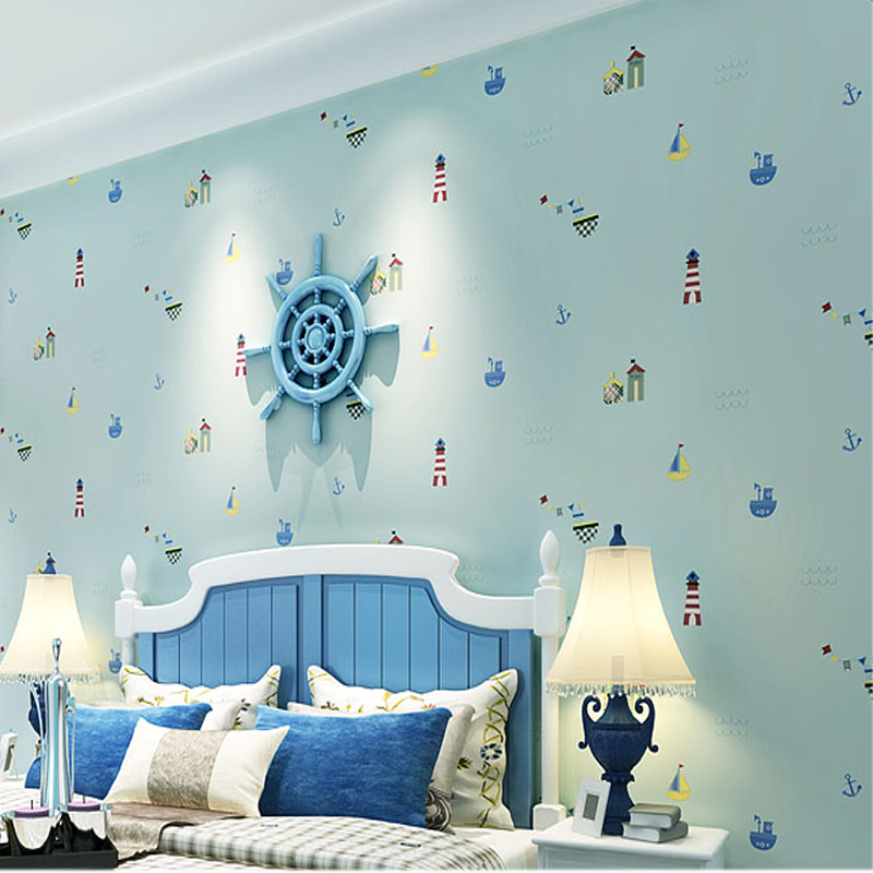 цена на Modern Simple Mediterranean 3D Cartoon Baby Boys Girls Kid's Room Bedroom Wallpaper Rolls For Wall Non-woven Embossed Wall Paper