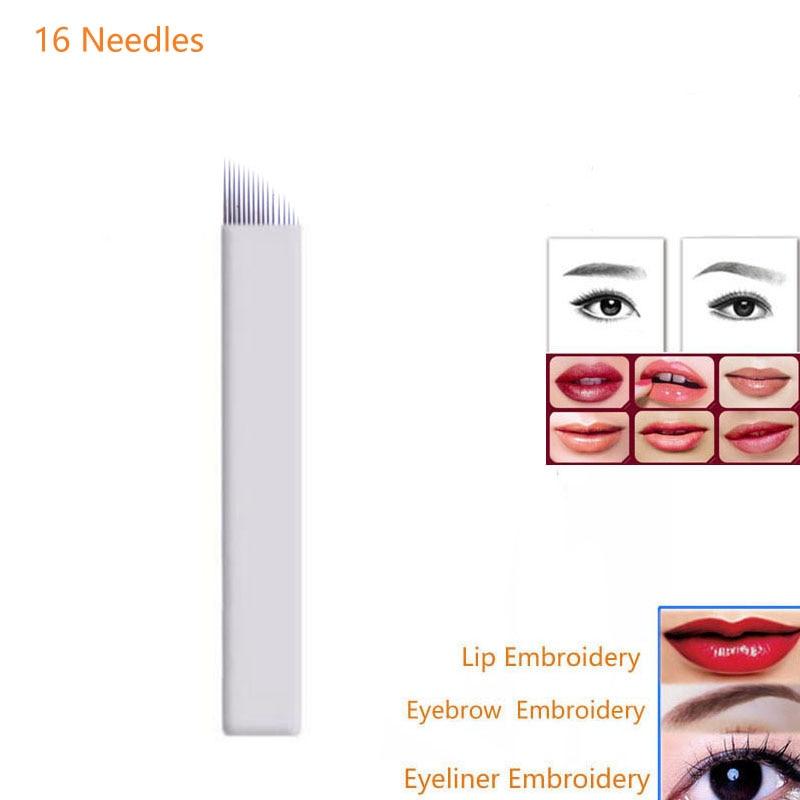 Microblading 문신 바늘 16Pin 100Pcs 눈 썹 Eyelinr 립 영구적 인 메이크업 블레이드 3D 자 수 수동 문신 펜 기계