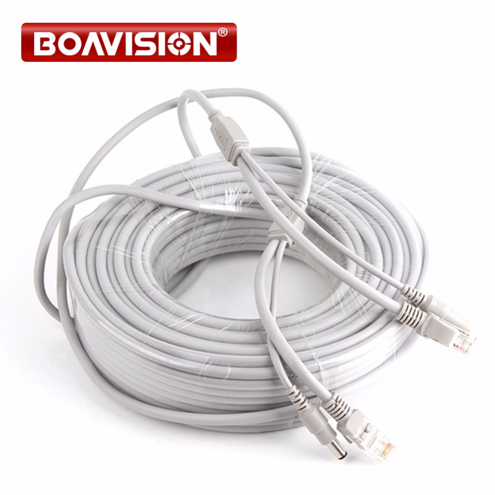 CCTV Network Lan Cable CAT5/CAT-5e 30M/100ft Ethernet Cable RJ45 + DC Power For Network Video Recorder NVR IP Cameras Gray cctv network lan cable cat5 cat 5e 30m 100ft ethernet cable rj45 dc power for network video recorder nvr ip cameras gray