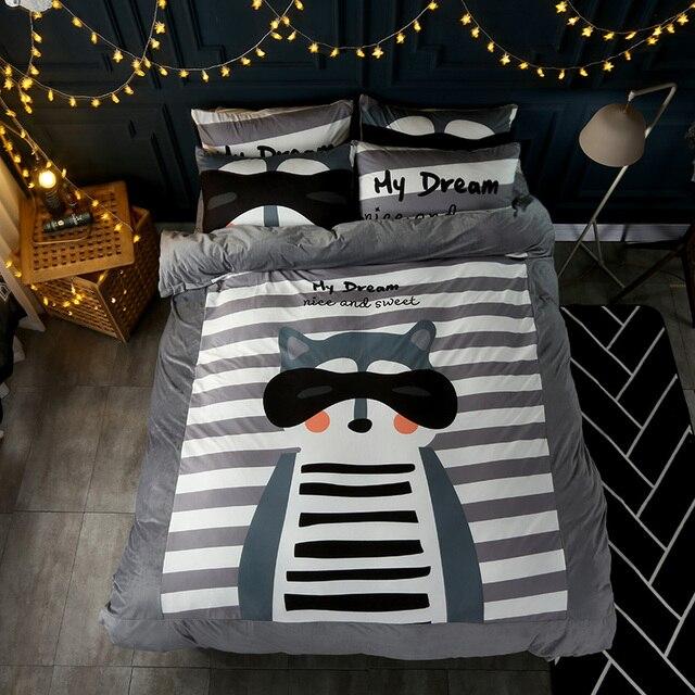 2017 New Luxury Winter Bedding Set Grey Fleece Fabric Duvet Cover Sets  Cartoon Bear Bed Linen