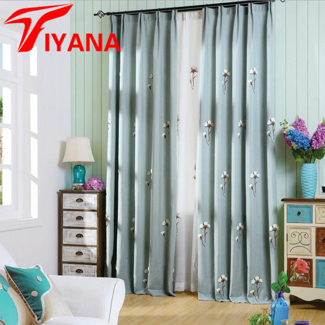 Embroidered Flower Sheer Curtains With Thick Cotton Linen Window Curtains  For Bedroom Living Room Kitchen Window