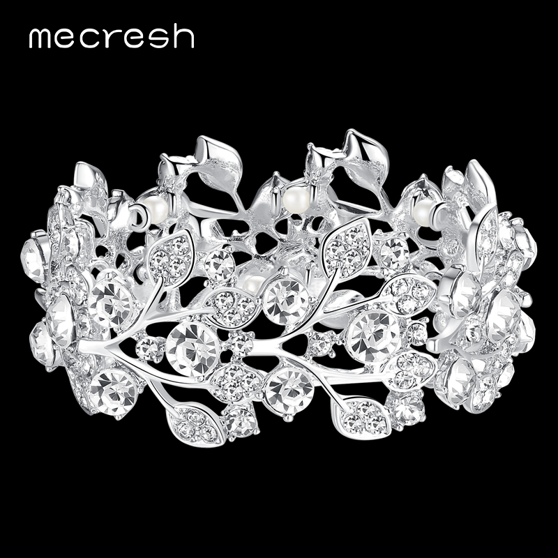 Mecresh Luxury Crystal Wedding Bracelets & Bangles para Mujeres Color - Bisutería