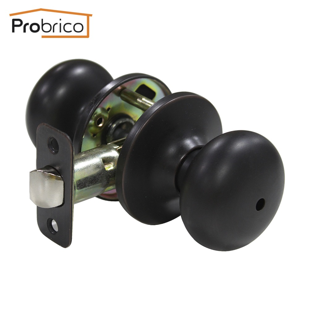 Probrico 10 PCS Privacy Door Keyless Lock Stainless Steel Safe Lock Oil Rubbed Bronze Security Lock Door Handle Knob DL5766ORBBK allen roth brinkley handsome oil rubbed bronze metal toothbrush holder