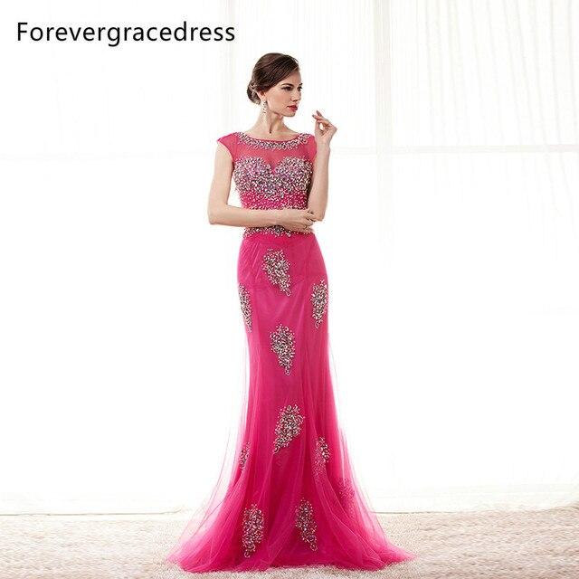 Forevergracedress Real Images Fuchsia Prom Dress Crystal Beaded ...