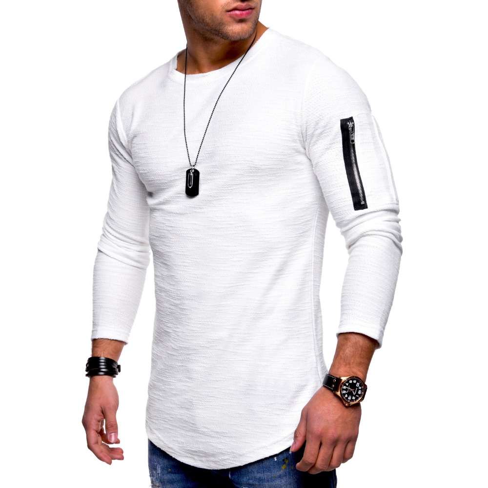 2018 Fashion Casual Streetwear Men T Shirt Long Sleeve Pure Color Camiseta Pocket on Arms Zipper Patchwork O-Neck Sportwear Tops