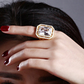 Woman rings with large rectangle cut stone rings Gold and Rhodium plate Big design Women Trendy rings for party