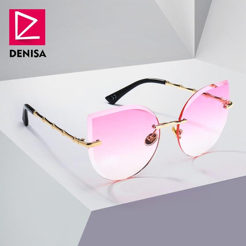 DENISA Cool femmes lunettes de soleil oeil de chat mode pilote lunettes filles rose sans monture lunettes de soleil dames UV400 zonnebril dames G23018