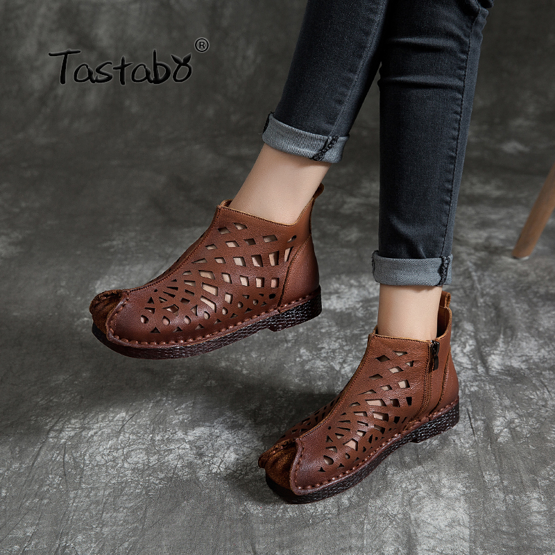 Tastabo New openwork ankle boots Flat Genuine Leather Women Shoes Breathable Comfortable Low heel design Non