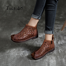 Women Shoes Ankle-Boots Low-Heel Comfortable Design Genuine-Leather Flat Openwork No