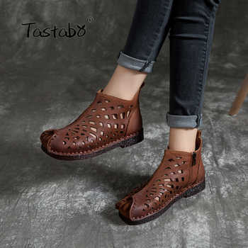 Tastabo New openwork ankle boots Flat Genuine Leather Women Shoes Breathable Comfortable Low heel design Non-slip sole - DISCOUNT ITEM  50 OFF Shoes