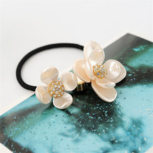 Sale 1Pc Women Korean Style Rhinestones Flower Tiara Rope Elastic Hairbands Rubber Band Crystal Fashion Hair Jewelry