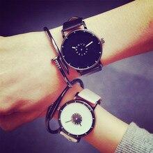 2016 nouvelles Dames montre bracelet En Cuir De Mode Lovers montres casual Creative quartz montres femmes noir blanc bracelet horloge