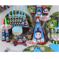Free Shipping 6 Kids Thomas Themed Birthday Party Decoration Kit Set Suppliers Cup Plate Straw Fork