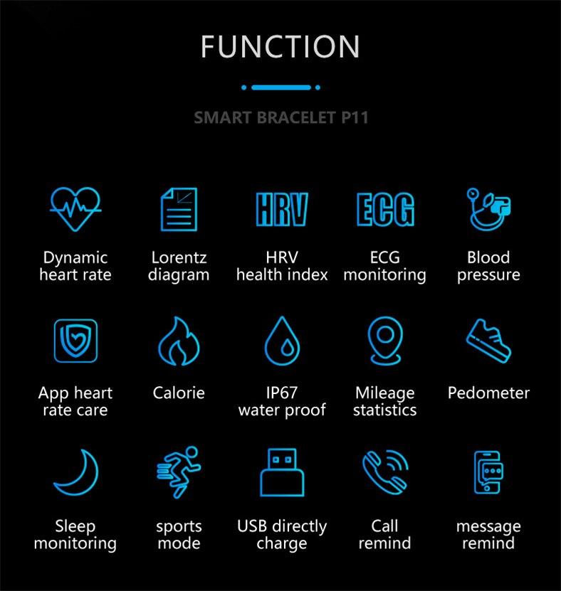 HTB16a4uQb2pK1RjSZFsq6yNlXXaL P11 Smart Bracelet Sport Smart Watch Men Women Smartwatch ECG Bluetooth Wristband Heart Rate Monitor Call Message Reminder Band