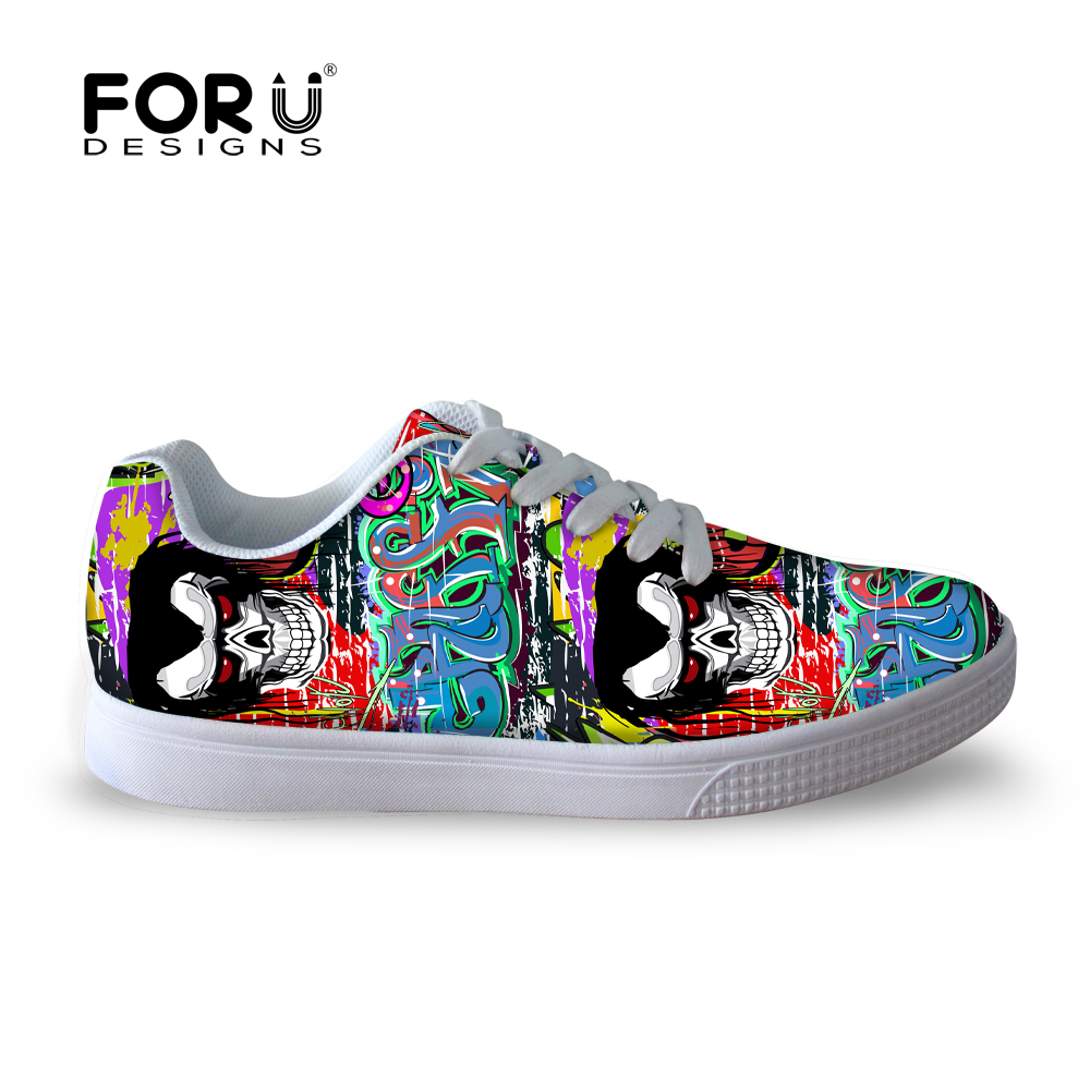 High quality men casual shoes fashion graffiti skull skate shoes for college students street walking flats