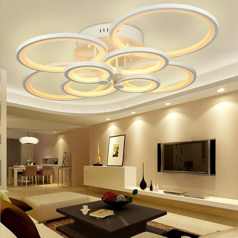 Creative fashion LED ceiling lamp living room bedroom round dining room study lamp simple modern lighting lamps Acrylic lamps tuda glass shell table lamps creative fashion simple desk lamp hotel room living room study bedroom bedside lamp indoor lighting