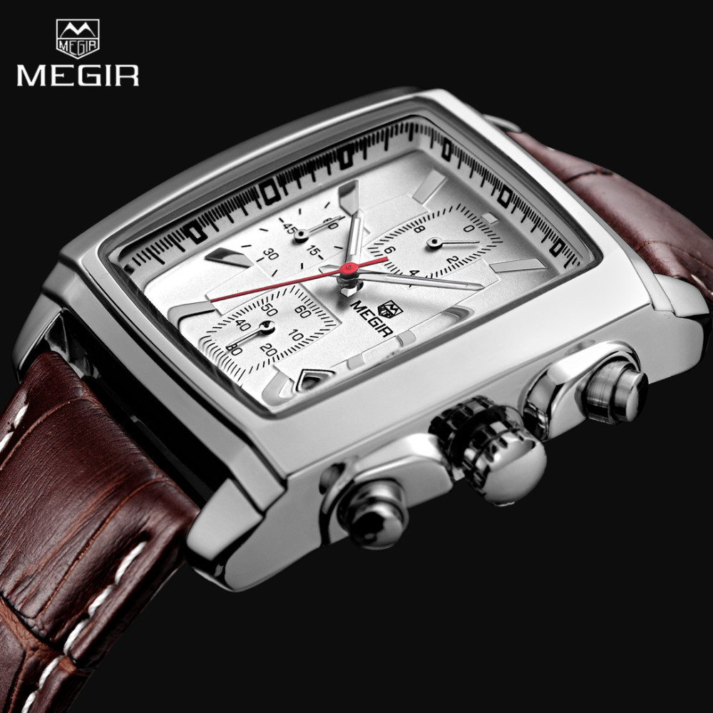 2017 New Luxury Brand MEGIR Men's Sports Chronograph Watch Genuine Leather Quartz Mens Military Wrist watch Relogio Masculino new world map mens genuine leather quartz watch wood bamboo male wrist watch luxury brand reloj de madera genuine with gift box