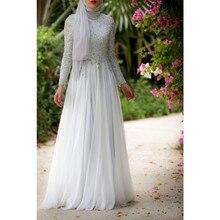 Heißer verkauf 2016 weiß eleganten muslimischen arabischen kaftan dubai abendkleid mit langen Ärmeln a- line chiffon vestido de festa longo